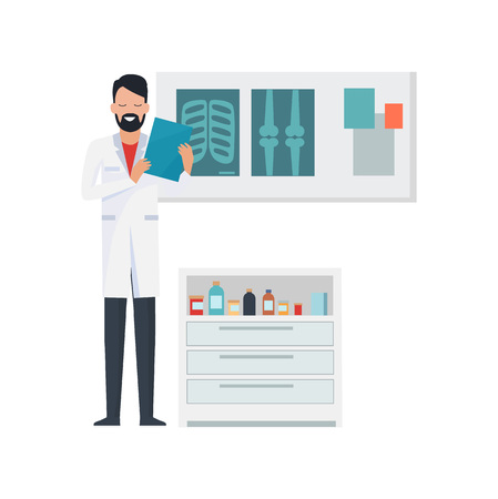 Doctor with notebook, x-rays and bottles with liquids, standing in laboratory, reading results of patients and smiling vector illustration