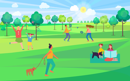 People spending leisure time in park vector illustration. Moms and kids playing badminton, catching butterflies, sitting on blanket and walking dogs