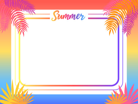 Summer poster with place for text vector illustration. Pink and yellow tropical leaves, exotic plants surround the frame of greeting card or advertisement banner Иллюстрация