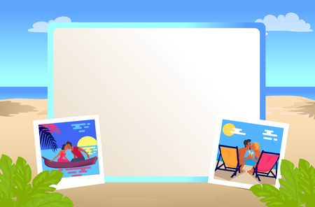 Empty photo frame with couples on romantic dates that kisses on beach in recliners and on canoe at sunset during vacation vector illustration.
