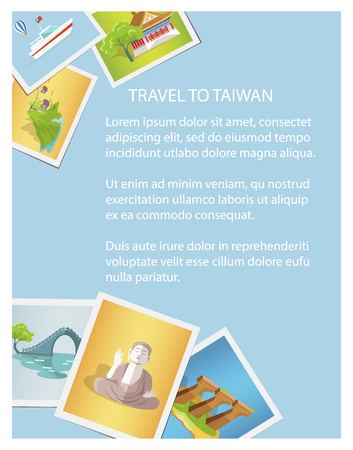 Travel to Taiwan informative brochure card with photographs. Vector colorful illustration in flat design of asian country sightseeing on images and written text information on blue background.