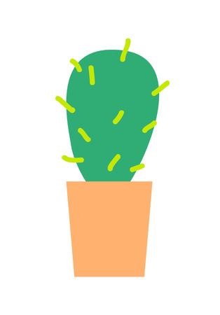 Green grown cactus with sharp spikes in clay pot isolated cartoon flat vector illustration on white background. Compact natural indoor decoration. Illustration