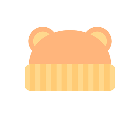 Hat with ears, poster with type of baby clothes object with pattern of stripes kids fashion and mode, vector illustration isolated on white background