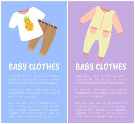 Baby Clothes two images isolated on blue and lilac, little baby brown pants, white t-shirt with pineapple, cute suit, children clothes collection Illustration