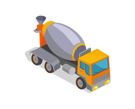 Concrete mixer truck isolated on white background, vector illustration, grey concrete mixing drum, heavy technique, special machine, square cabine