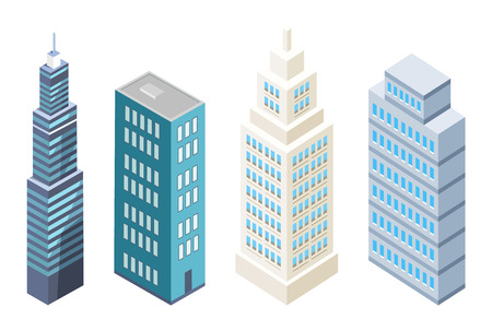 Collection of multi storey buildings modern skyscrapers design vector illustrations set isolated on white background. Downtown business centers set Illustration