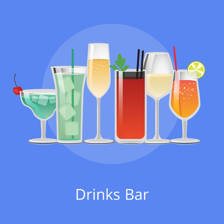 Set of summer cocktails bloody mary, vodka with juice, blue lagoon, tasty margarita and tropical pleasure refreshing alcohol cocktails straw vector Иллюстрация