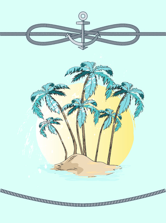 Palms and rope with anchor, high trees with broad leaves, decoration and frame, sea adventure and rest vector illustration isolated on blue background