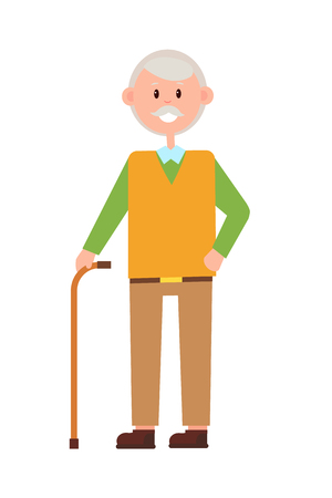 Funny grandad, bright banner, vector illustration isolated on white backdrop, aged man with cute smile on face, holding supporting stick, color dressing Illustration