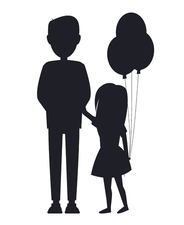 Daughter holding balls and her father, family card isolated on white background, abstract kid and parent silhouettes, happy family members, small girl