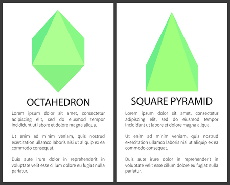 Octahedron and square pyramid colorful poster with frame and text sample, green geometric objects, triangular geometric elements , vector illustration