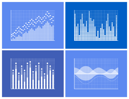 Graphics collection and frames, falling and rising charts set with information representation, business charts, vector illustration isolated on blue