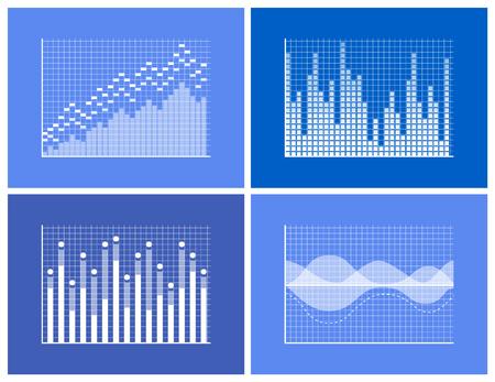 Colección de gráficos y marcos, gráficos descendentes y ascendentes con representación de información, gráficos comerciales, ilustración vectorial aislada en azul