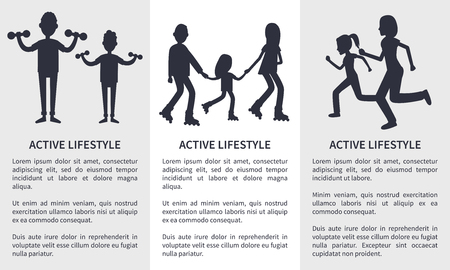 Set of active lifestyle cards vector illustration isolated on white backdrops, black text sample, silhouettes of doing varied sport activity families  イラスト・ベクター素材