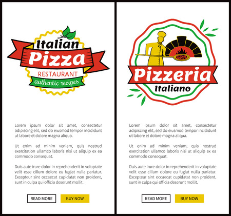 Italian pizza restaurant authentic recipes, set of web pages, pizzeria Italiano, pizza logotypes with text sample and buttons vector illustration 向量圖像