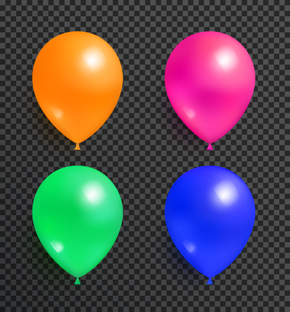 Set of flying balloons of orange pink green and blue color realistic design vector isolated on transparent. Balloon festive party decorative elements