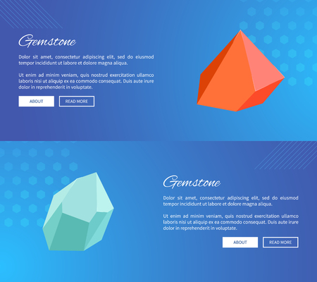 Gemstone webpages design with push buttons about and read more, landing pages with precious stones minerals and crystals vector web posters set
