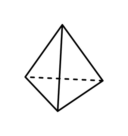 Square pyramid black geometric shape projection of dashed and straight lines geometric figure. Shape with side in form of triangle and square base vector