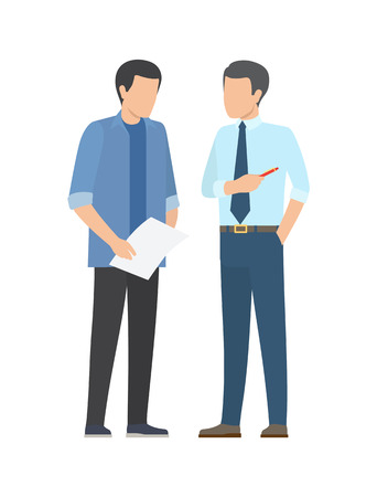 Successful business partners discussing financial issues of business project. Two males briefing, confident coworkers with paper and pen isolated vector