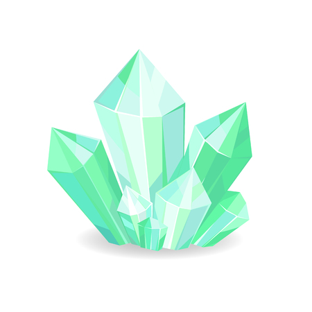 Green crystals of sapphire realistic precious geological minerals isolated on white background. Vector of shiny verdant crystals in realistic design Stock Illustratie