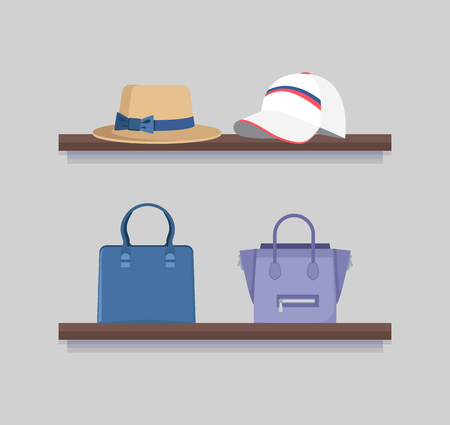 Headwear and handbags mode clothing collection, two brown shelves, cute hat with bow, mode cap with stripes, pair of female bags, vector illustration
