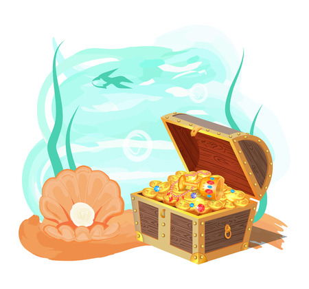 Sea and treasures poster, banner with plants, water and wooden chest, full of treasures, shell and pearl, vector illustration, shark isolated on white