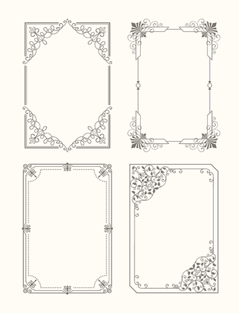 Set of vintage frames decorative border with corners, leaves and curved elements in black and white colors, retro border isolated photo frame