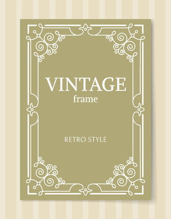 Vintage frame retro style decorative border with corners, leaves and curved elements in olive and white colors, retro border isolated photo frame