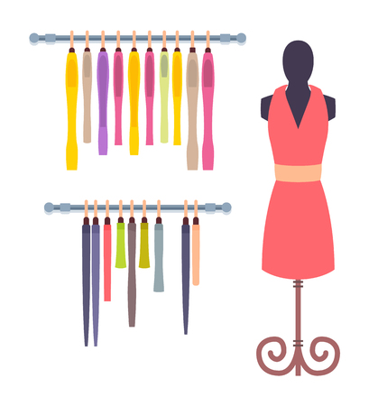 Shop window in women clothing store mannequin in pink dress, rows of garment hanging on shelves vector illustration showroom design isolated on white