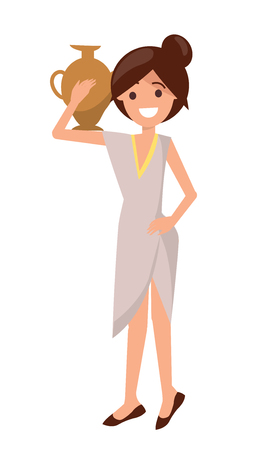 Cute girl in dress with pottery vase on shoulder, vector illustration isolated on white background, grey dress on pretty woman, elegant brown shoes Banque d'images - 105602773