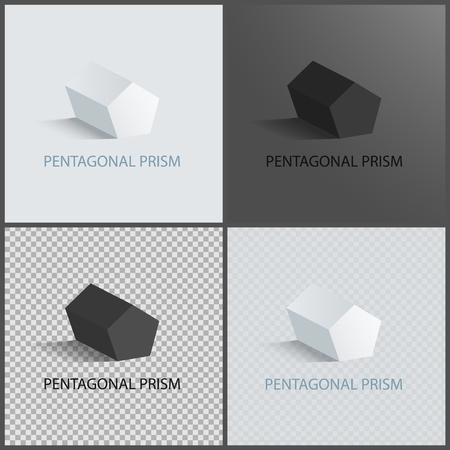 Pentagonal prisms set on dark light and transparent backgrounds, three dimensional geometric shapes of pentagonal prism, geometric 3D figure vector Stock Vector - 105602774