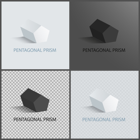 Pentagonal prisms set on dark light and transparent backgrounds, three dimensional geometric shapes of pentagonal prism, geometric 3D figure vector