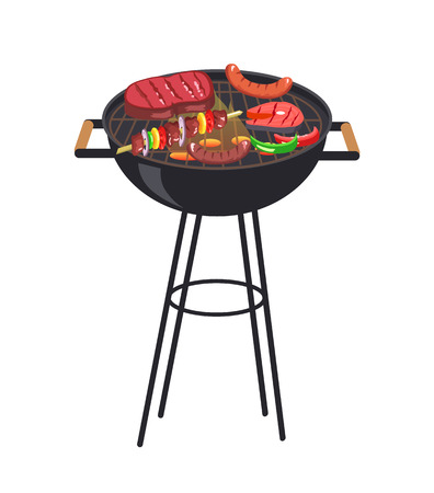 Roaster grill with meal set, grill and vegetables, steak and sausages, slice of salmon and brochette vector illustration isolated on white background Standard-Bild - 105602778