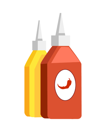 Ketchup chili and mustard, sauces for fast food, image of chili pepper, ketchup and mustard in plastic bottles vector illustration isolated on white  イラスト・ベクター素材
