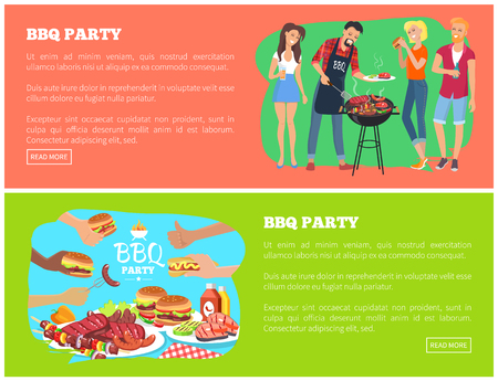 BBQ party and text samples, people cooking and grilling, bbq party website pages, and human hands with fast food, isolated on vector illustration Иллюстрация