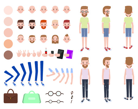 Animated man constructor head with various emotions, skin colors and hairstyles, gesture signs and accessories glasses and cases male constructor vector