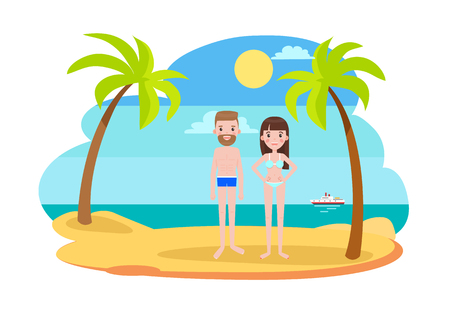 Man and woman in swimsuits on the beach with palms stand on sand at coastline with ship on background, man and woman in bikini vector summertime holiday Illustration