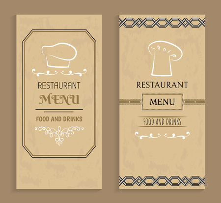 Restaurant menu with drinks and food templates. Menu of vintage design with chef hat logo. Prestigious restaurant menus covers vector illustrations.