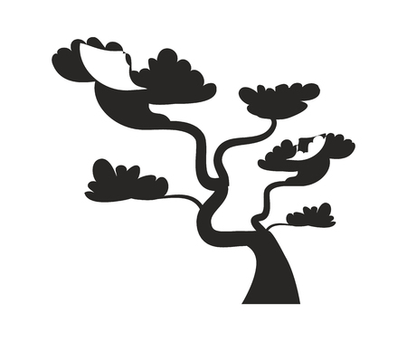 Big bonsai tree with curved trunk black silhouette. Old bonsai tree grown at oriental countries dark shadow isolated cartoon flat vector illustration. Illustration