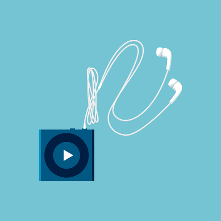 Small MP3 Player Sketch with White Headphones Stock Vector - 104203100