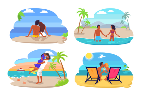 Couple Seaside Collection Vector Illustration
