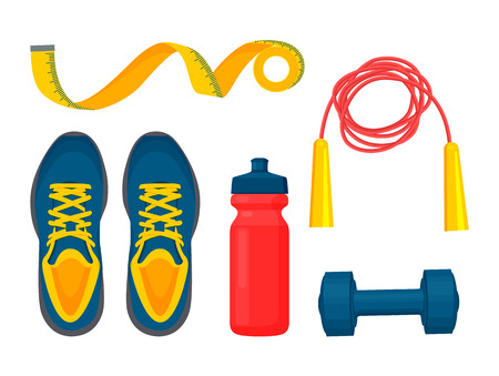 Sportswear collection, color vector illustration, blue sneakers and dumbbell, red bottle for water and skipping rope, yellow weight tape, sport items Illustration