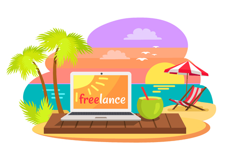 Open notebook on tropical beach with text freelance on screen, summer cocktail with straw, sun-bed under umbrella, summertime poster freelance concept