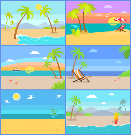 Tropical summer vector illustrations set with mountains, blue sky and palm trees, best place for work of freelancer, seascape ocean and sand, sunbeds Illustration