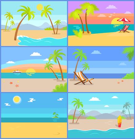 熱帯の夏のベクトルイラストは、山、青い空とヤシの木、フリーランサー、海景の海と砂、サンベッドの仕事のための最良の場所を設定