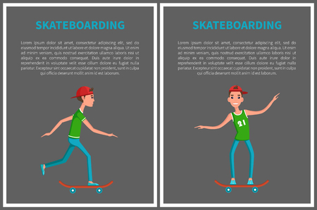 Vector go skateboarding day cards isolated on grey backdrop. Skateboarding set of posters cartoon characters with text, male with skateboard on training