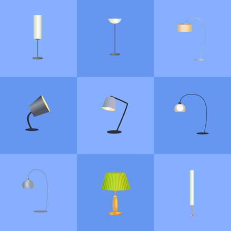 Elegant lamps collection, flexible and adjustable stands, innovative design and shapes set, lamps vector illustration isolated on blue background