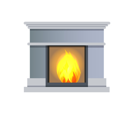Fireplace made of stone of grey color with fire inside, fireplace as decorative element in house and heating object, isolated on vector illustration