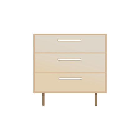 Chest of drawers, closeup object, interior design and decor, item made of wooden material allowing to put things inside of it vector illustration