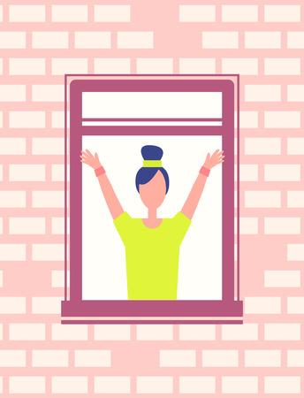 Woman Do Fitness Exercise near Open Window Vector